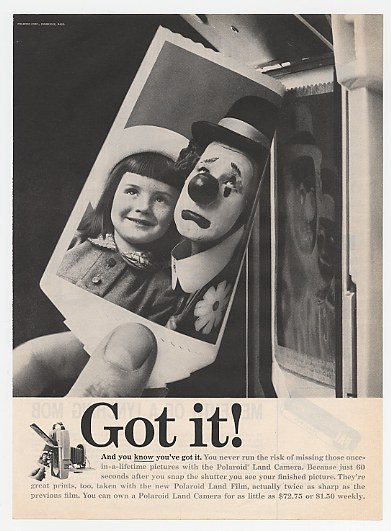 1959 Polaroid Land Camera Clown & Girl Photo Got It Ad