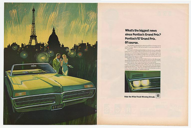 '66 1967 Pontiac Grand Prix Convertible Double-Page Ad
