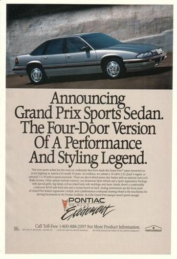 '89 1990 Pontiac Grand Prix Sports Sedan Legend Ad