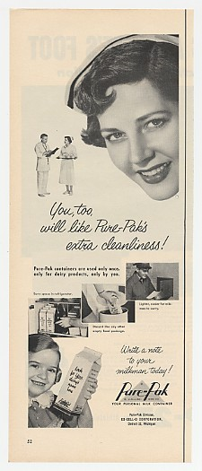 1953 Pure-Pak Milk Carton Cleanliness Nurse Ad