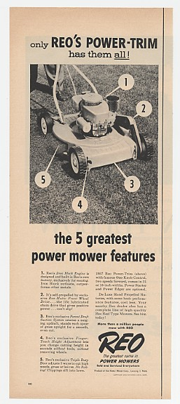 1957 REO Power-Trim Mower 5 Greatest Features Ad