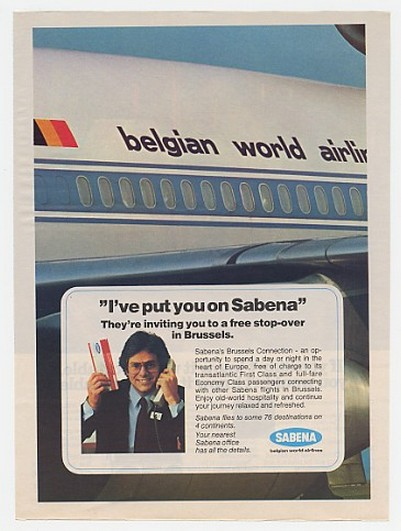 1982 Sabena Belgian World Airlines Free Brussels Ad
