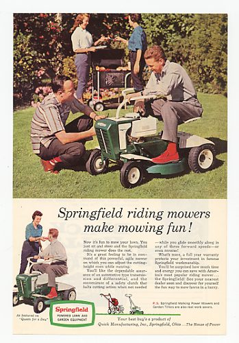 1960 Springfield Riding Mower Make Mowing Fun Ad