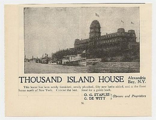 1899 Thousand Island House Hotel Alexandria Bay NY Ad