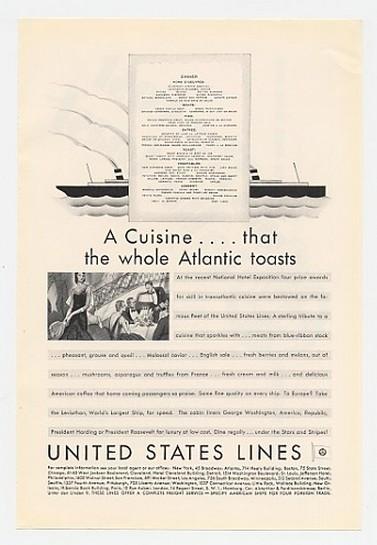 1930 United States Lines Cuisine Dinner Menu Ad