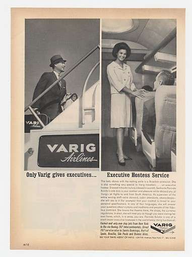 1962 Varig Airlines Executive Hostess Service Ad