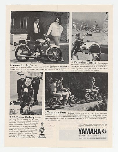 1964 Yamaha Sportcycle Style Thrift Safety & Fun Ad