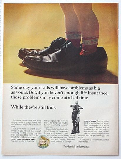 Adspast Com 1967 Prudential Insurance Kid In Dad S Shoes Ad