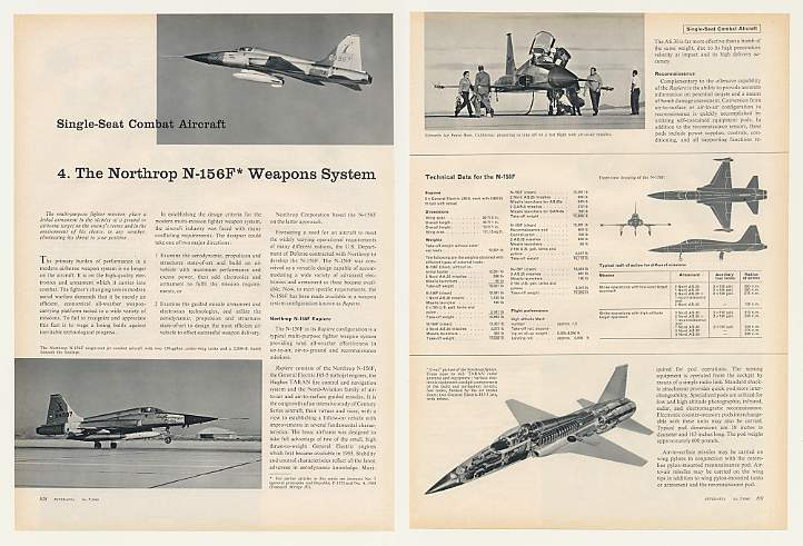 Adspast Com 1960 Northrop N 156f Aircraft Weapons System