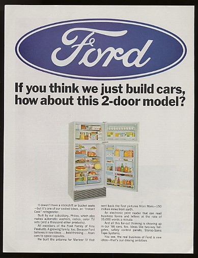 Adspast Com 1966 Ford Refrigerator 2 Door By Philco Ad