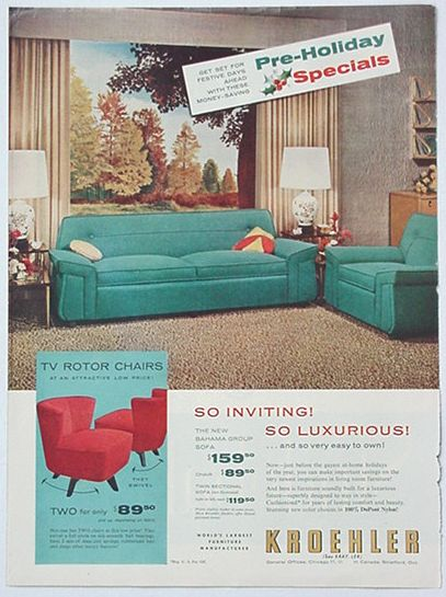 Adspast Com 1950 S Kroehler Sofa Amp Tv Rotor Chairs Ad