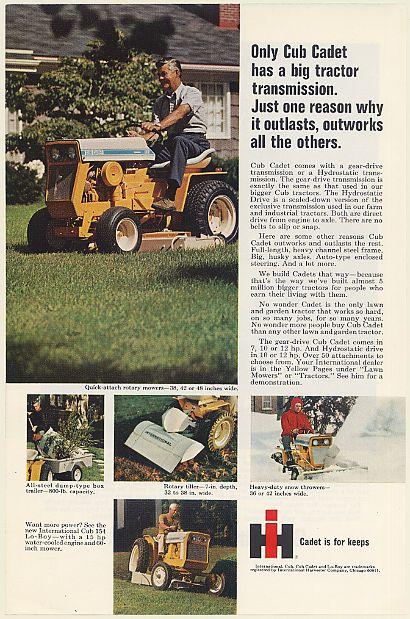 IH International Harvester Cub Cadet Lawn and Garden Tractor Print Ad