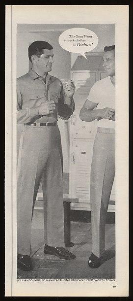 Details about 1960 Dickies Men Work Clothes Men in Locker Room Print