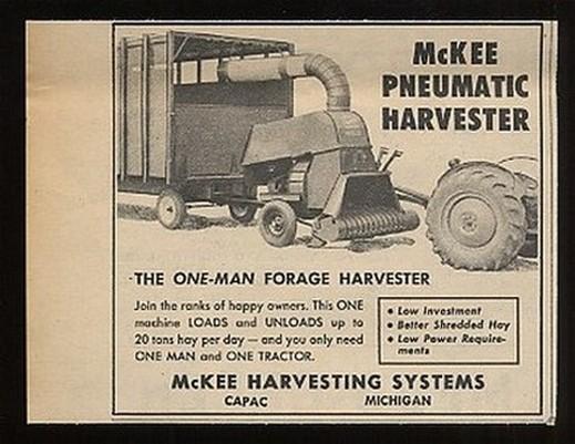 Adspast Com 1955 Mckee Pneumatic One Man Harvester Ad