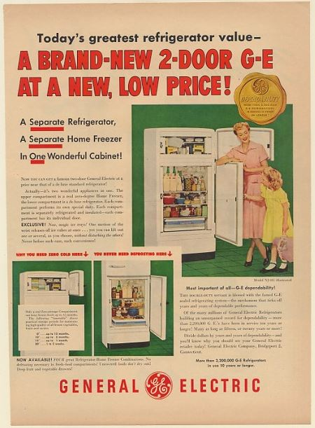 AdsPast com - 1950 GE General Electric 2-Door Refrigerator Model NJ