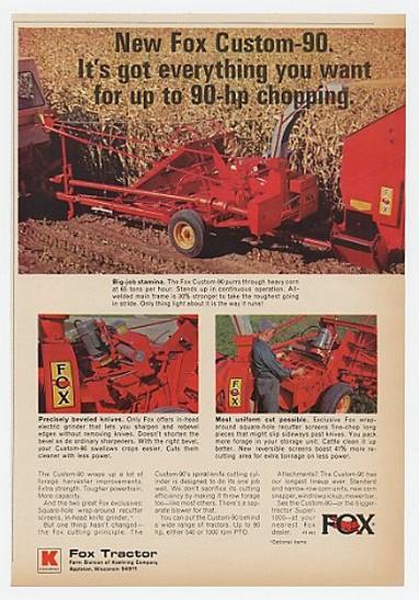 Adspast Com 1969 Fox Tractor Custom 90 Forage Harvester Ad