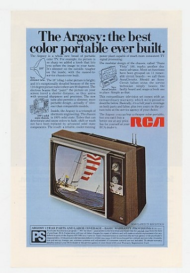 Adspast Com 1970 Rca Argosy Best Color Portable Tv