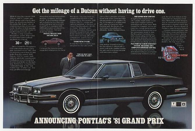 AdsPast.com - '80 1981 Pontiac Grand Prix Brougham Double-Page Ad
